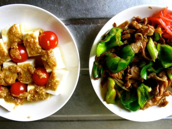 Tofu salad and stir-fry
